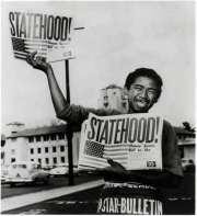 Statehood - AP-Honolulu Star-Bulletin photo by Albert Yamauchi of newspaper boy Chester Kahapea on Aug. 21, 1959