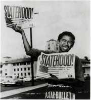 Statehood - AP-Honolulu Star-Bulletin photo by Albert Yamauchi of newspaper boy Chester Kahapea on Aug. 21, 1959