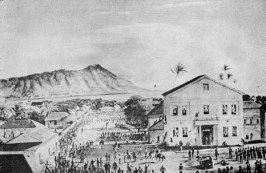 The Election Riot of 1874 at Honolulu Courthouse as depicted by Peter Hurd