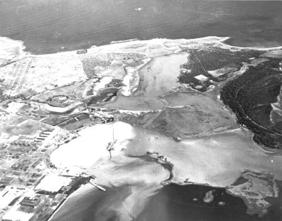 This circa 1940 shows Nuupia Ponds and the Naval Air Station at the bottom left. USMC photo.