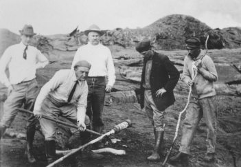Thomas Jaggar (second from left) L2R Norton Twigg-Smith, Thomas Jaggar, Lorrin Thurston, Joe Monez, and Alex Lancaster-(USGS)-1916