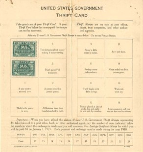 Thrift Stamp Card