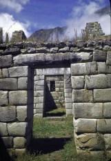 Trapezoidal entry doors at Incan ruins of Machu Picchu.