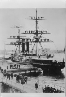 USS Atlanta - manning the yards in honor of Queen Kapiolani, Brooklyn, NY-PP-97-15-009-1887