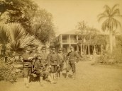 USS Boston officers at Camp Boston, Arlington Hotel, Honolulu, Hawaii, 1893