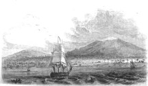 View of Hilo, Mauna Kea and Mauna Loa-Bingham-1820s