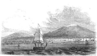 View of Hilo, Mauna Kea and Mauna Loa in the 1820s