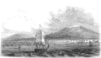 View of Hilo, Mauna Kea and Mauna Loa in the 1820s