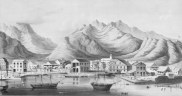 View_of_Honolulu_Harbor_and_Punchbowl_Crater._(c._1854)