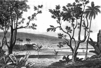 Waiakea_Mission_The 7th Baron Lord Byron visited Hilo in 1825-painting by the Robert Dampier-only a few thatched huts at the time-1825