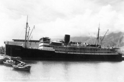 Waialeale, Inter-Island Steamship. Pier 2. Kahului, Maui. Pre-World War II-(KatsugoMiho)