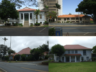 Wailuku_Civic_Center_Historic_District-Top_L_to_R-Courthouse-Old-Police-Station-Bottom-Wailuku-Library-Territorial-Building