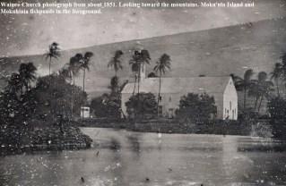 Wainee_Church-Mokuula in foeground-1851