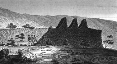 William_Ellis,_Ruins_of_an_ancient_Fortification,_near_Kairua_(1827)