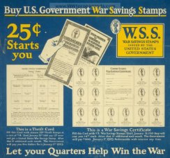 war saving stamps card