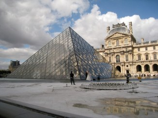 glass pyramid at the Louvre, Paris