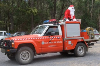 santa claus and fire truck