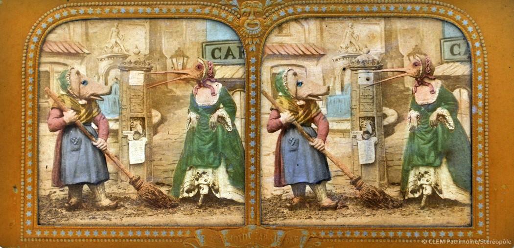 Images stéréoscopiques Adolphe Block Métamorphoses Grandville