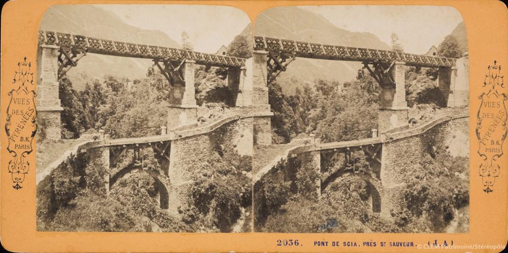 Images stéréoscopiques Andrieu Jean Vues de Pyrénées Block Adolphe Pont de Scia Luz-Saint-Sauveur