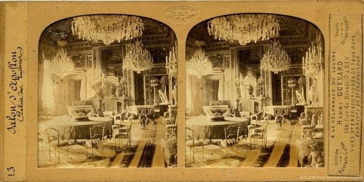 Images stéréoscopiques Grau Florent Vues des châteaux des Tuileries, de Saint-Cloud et de Versailles Sallon d'Apollon