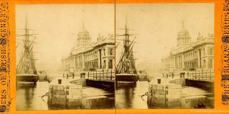 Images stéréoscopiques Lawrence William Dublin Custom House