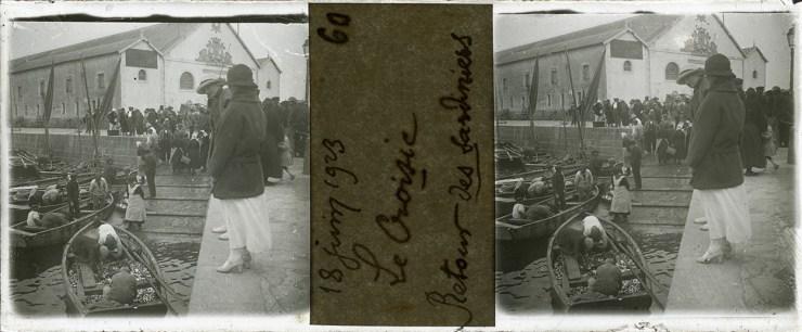 Images stéréoscopiques plaque de verre Le Croisic Sardiniers 1923