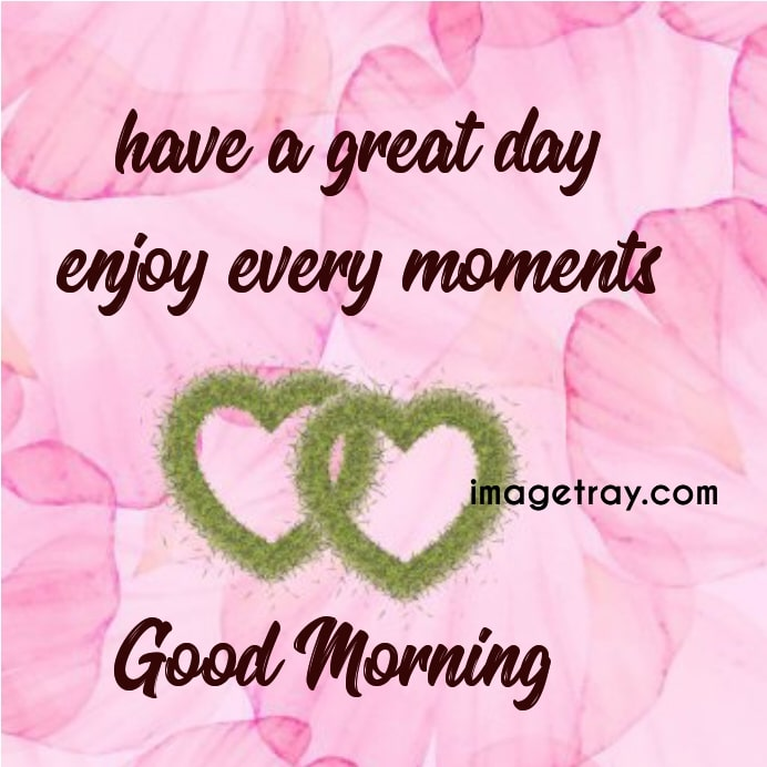 have a great day enjoy every moment,good morning