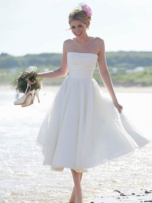 Summer Tea-length Strapless Ruffles Ivory Tulle Wedding Dresses #UKM00022444