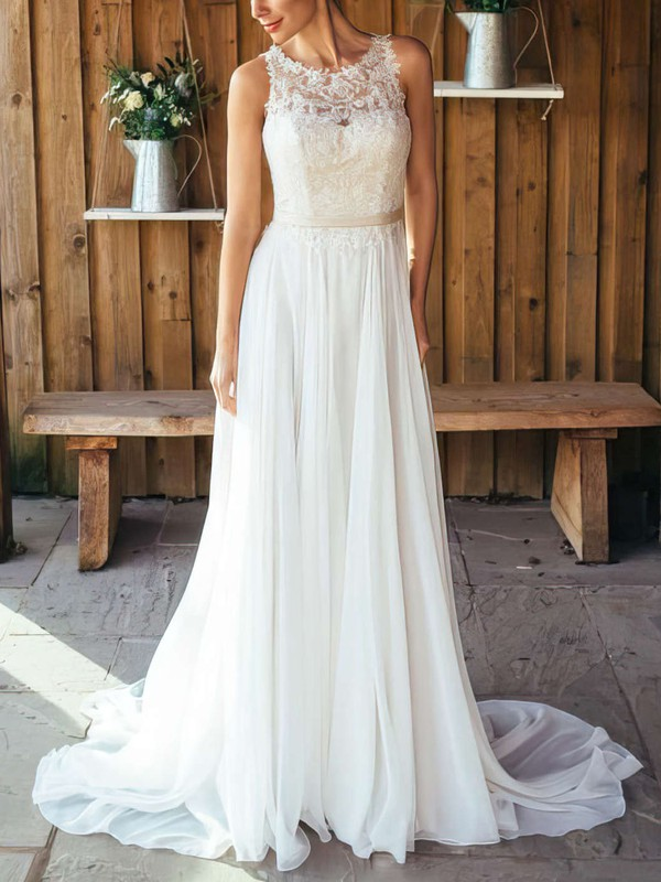Elegant A Line Chiffon Unique Bridal Gown