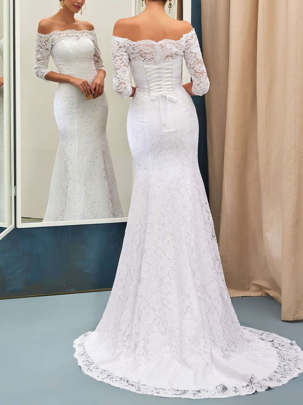 Trumpet/Mermaid Off-the-shoulder Lace Sweep Train 3/4 Sleeve Top Wedding Dresses #UKM00022733