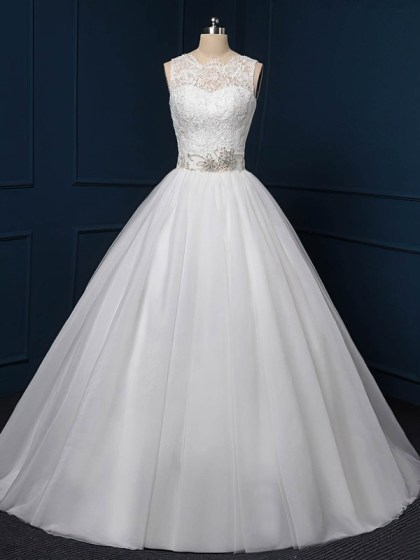 Ball Gown White Tulle Sashes / Ribbons Sweep Train Amazing Wedding Dress #UKM00022518