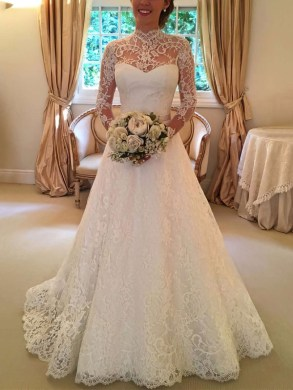 UK Wedding Dresses Online  Bridal Gowns on Sale   uk millybridal org Open Back A line High Neck Lace Sweep Train Sashes   Ribbons Long Sleeve  Wedding