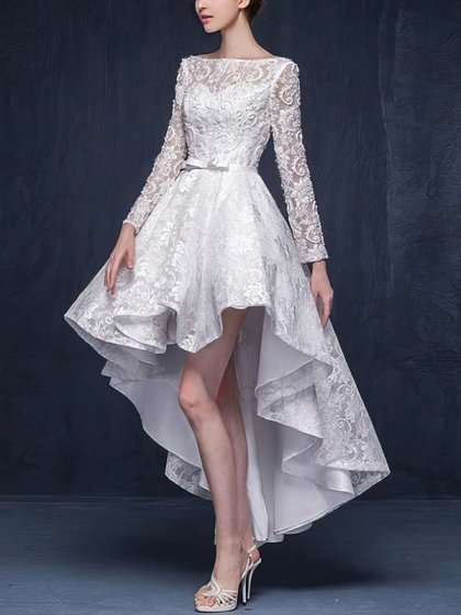A-line Scoop Neck Lace Beading Asymmetrical Long Sleeve High Low Different Wedding Dresses #UKM00022863