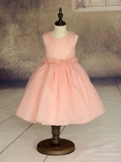 Ball Gown Scoop Neck Organza Ankle-length Ruffles Flower Girl Dresses #UKM01031869