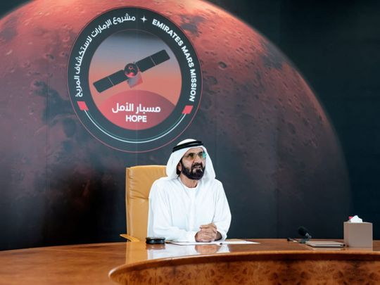 Sheikh Mohammed Bin Rashid Al Maktoum, Vice President and Prime Minister of the UAE and Ruler of Dubai in a video call with the Hope Probe team on Saturday