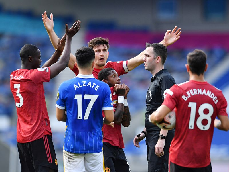 Referee Chris Kavanagh was the centre of attention in the Manchester United v Brighton match