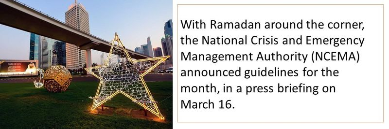 With Ramadan around the corner, the National Crisis and Emergency Management Authority (NCEMA) announced guidelines for the month, in a press briefing on  March 16.