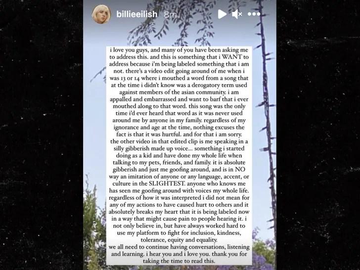 Billie Eilish addresses racism accusations