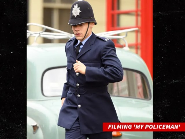 Harry Styles seen on the film set for  My Policeman