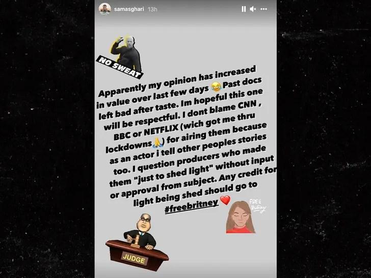 Sam Asghari instagram story
