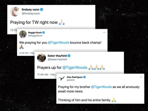 Stars send thoughts and prayers after the collapse of Tiger Woods