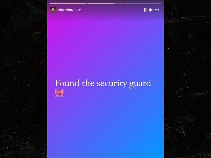 nicki minaj finds security guard