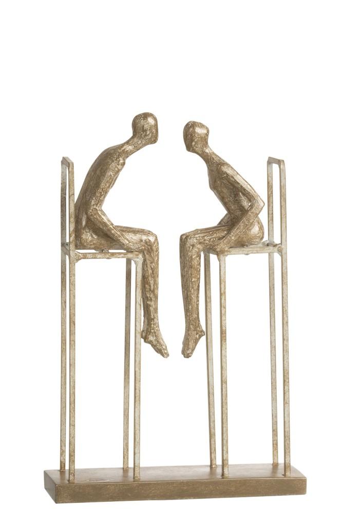 koppel op stoel staand poly goud