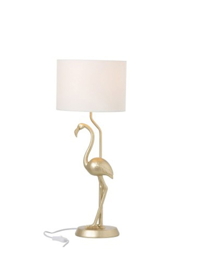 Lamp Flamingo Polyresin Goud