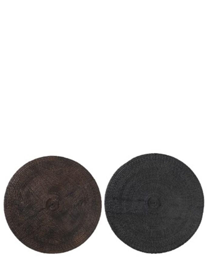 Muurdecoratie Rond Polyresine Grijs+Bruin Large Assortiment Van 2