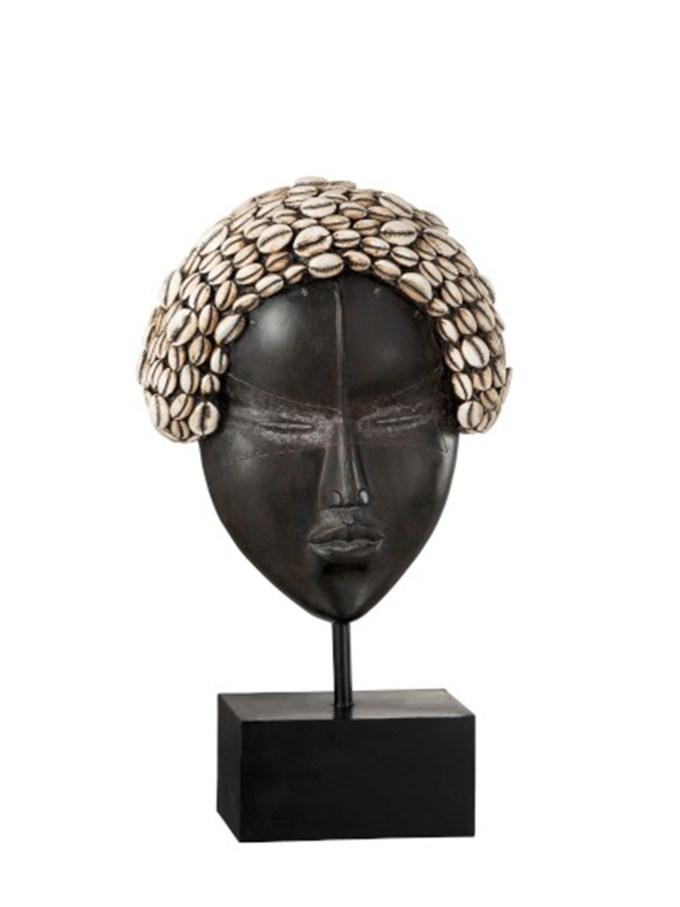 Masker Afr Vrouw Op Voet Polyresine Zwart/Wit Large