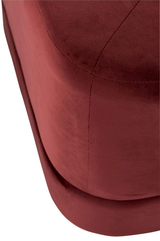 poef velvet rood close up