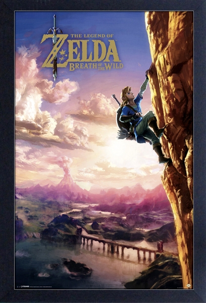 legend of zelda the link climbing picture frame 13 x 19 breath of the wild