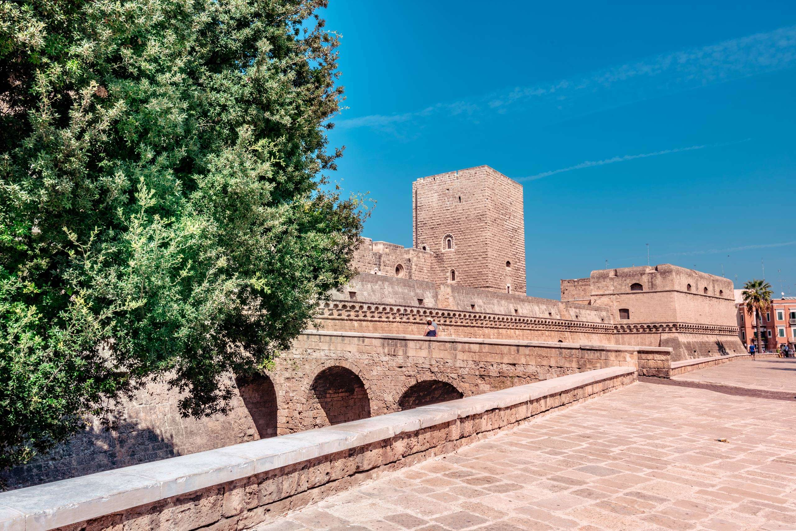 Panoramic of Swabian Castle in the old town of Bari city.