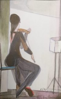 La violinista - 22x14cm - Acuarela sobre Papel